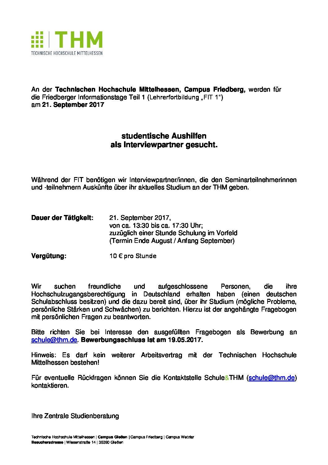Ausschreibung: Studentische Tätigkeit im Rahmen der Friedberger ...